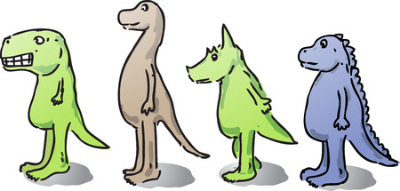 Cute cartoon dinosaurs hand-drawn comic illustrations Stock Illustration - 1379618
