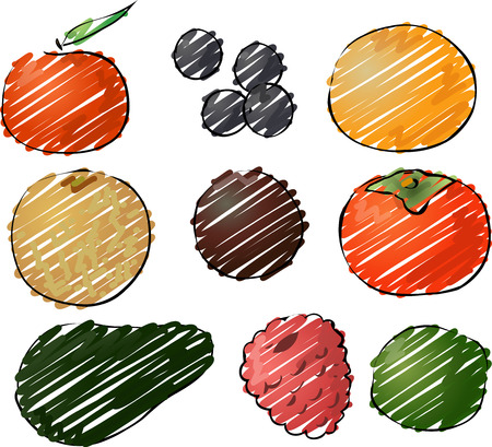 Illustration of fruits, hand-drawn look rough sketchy coloring illustration