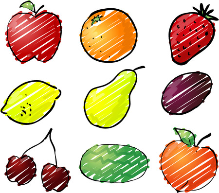 prune: Illustration of fruits, hand-drawn look rough sketchy coloring