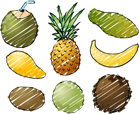 Illustration of tropical fruits, hand-drawn look rough sketchy coloring illustration