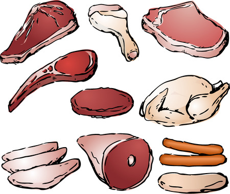 Various cuts of raw meat hand-drawn lineart sketch look photo