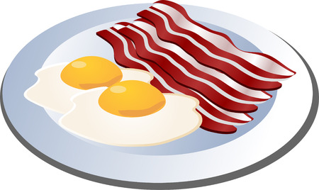sunny side up: Bacon and eggs on a plate isometric illustration