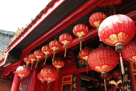 Traditional chinese temple with many red lanterns Stock Photo