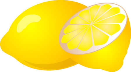 halved: Illustration of a whole lemon and half lemon, isometric color gradient illustration Stock Photo