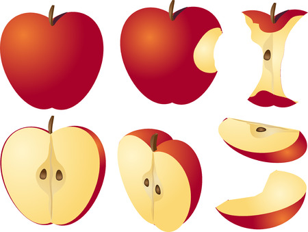 Isometric 3d illustration of red apples, bitten, core, halved, and quartered