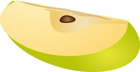 Sliced quarter green apple isometric illustration gradient color illustration