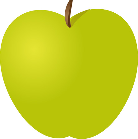 granny smith apple: Whole green apple isometric illustration color gradient