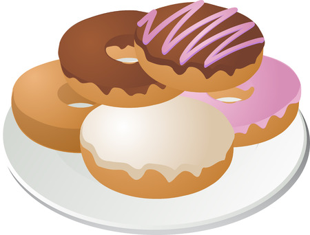 Various donuts arranged on a plate isometric illustration illustration