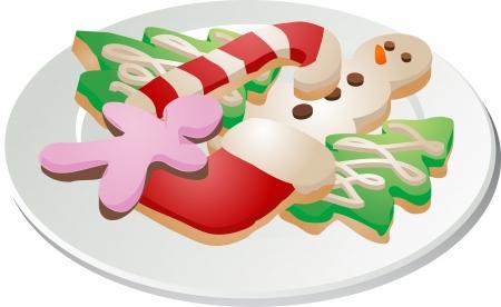 galleta de chocolate: Surtido de galletas de Navidad organizado en una placa ilustra isom�trico