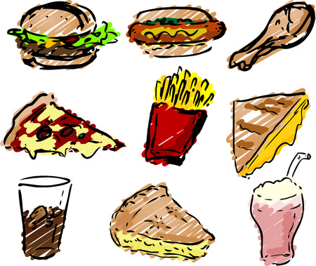 convenience: Fast food icons, hand-drawn look: hamburger, hotdog, fried chicken, pizza, fries, grilled cheese sandwich, pie, shake rough sketchy coloring Stock Photo