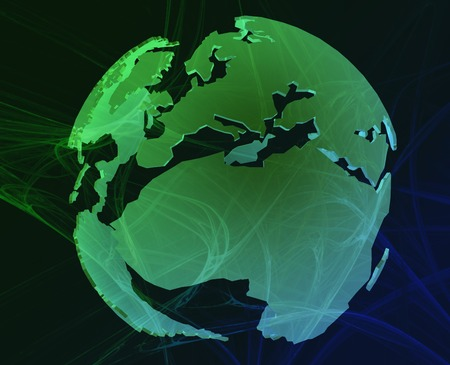 revolving: Data transfer over a 3d globe of the world Europe Africa green