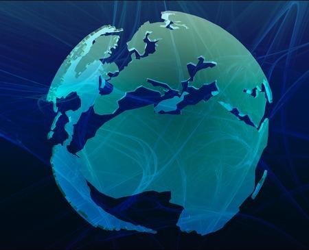 regional: Data transfer over a 3d globe of the world Europe Africa Blue