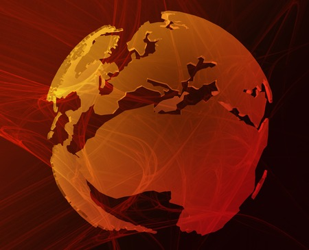 Data transfer over a 3d globe of the world Europe Africa orange photo