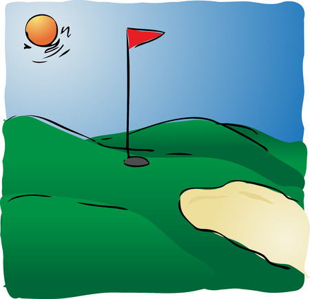 lineart: Illustration of sunny golf course hand-drawn lineart look Stock Photo
