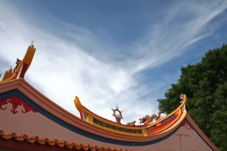 Traditional chinese temple rooftop against blue sky