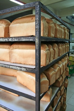 Rows of bread loaves in racks in a bakery photo
