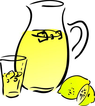 quench: Lemonade and lemons, retro hand-drawn style. Lemon and lemon slices, pitcher and glass of lemonade