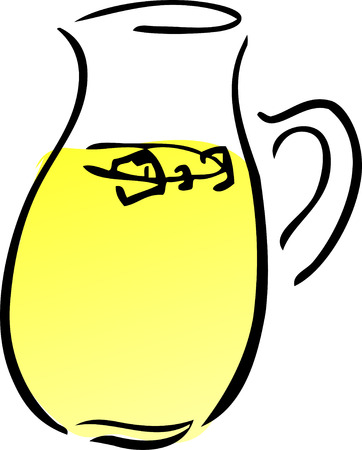 quench: A pitcher of lemonade. Retro hand-drawn lineart illustration
