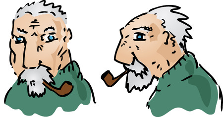 Cartoon illustration of an elderly grey-haired man illustration