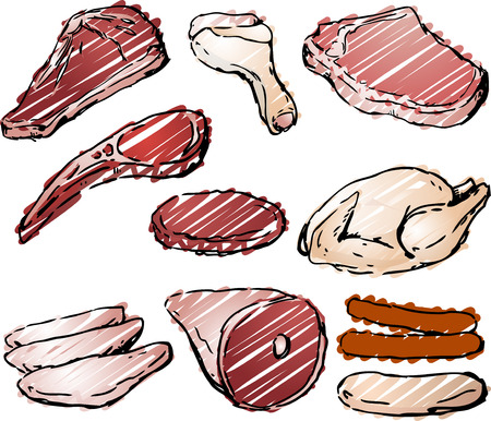 raw meat: Varioust cuts of raw meat hand-drawn lineart sketch look rough sketchy coloring