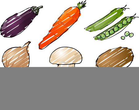 Illustration of vegetables, hand-drawn look rough coloring: eggplant, carrot, peas, onion, mushroom, potato, pepper, tomato, cucumber Stock Illustration - 1499011