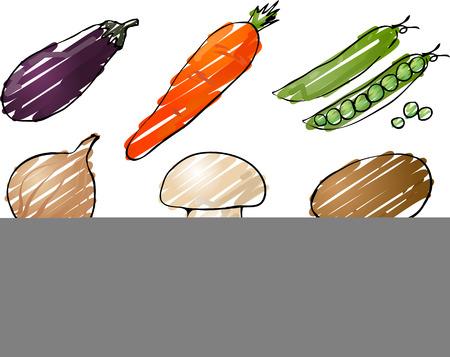 Illustration of vegetables, hand-drawn look rough coloring: eggplant, carrot, peas, onion, mushroom, potato, pepper, tomato, cucumber Stock Illustration - 1499011