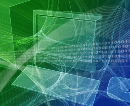 Digital collage illustration of a computer workstation with data flows illustration