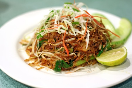 A plate of asian fried glass noodles photo