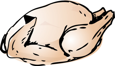 raw chicken: Whole raw chicken, cooking ingredient hand drawn retro lineart sketch Stock Photo
