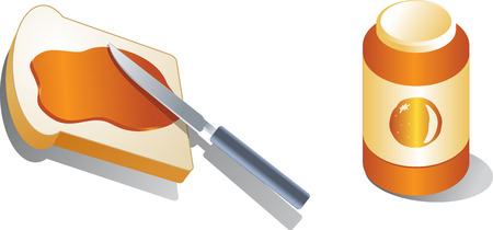 marmalade: Bread with spread marmalade Isometric 3d illustration