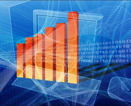 Financial computing deskto computer with bar chart Stock Photo