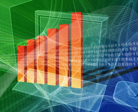 Financial computing deskto computer with bar chart photo