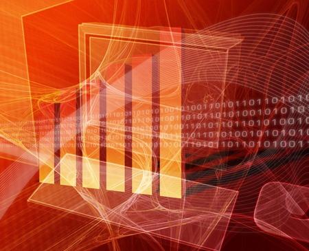 Financial computing deskto computer with bar chart Stock Photo - 1573175
