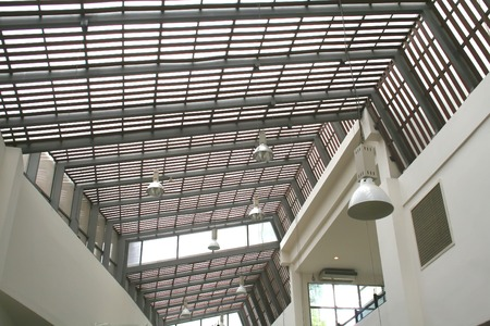 stuartkey: Modern steel and glass skylight with hanging lights