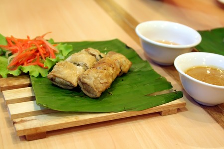 Traditional vietnamese spring rolls appetizer side dish photo