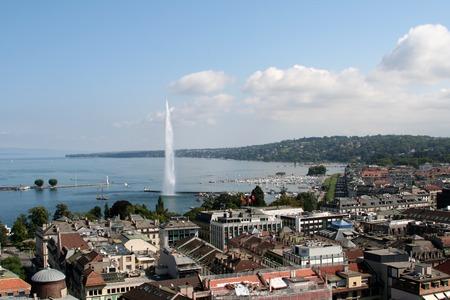 Jet deau on Lake Geneva in Geneva Switzerland photo