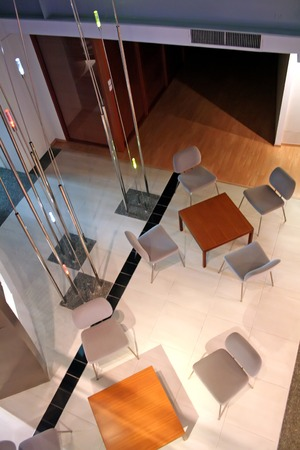 topdown: Topdown view of modern meeting area with chairs and tables