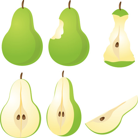 Isometric 3d illustrtion of pears, bitten, core, halved, and quartered photo