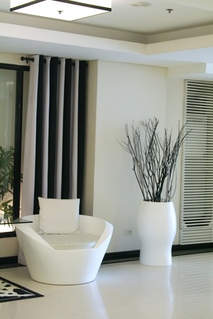 Living room waiting room with elegant modern black and white design photo