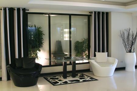 Living room waiting room with elegant modern black and white design Stock Photo - 1658144