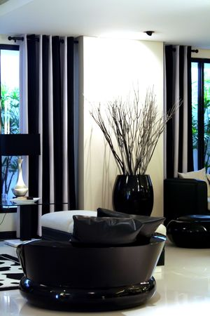 Living room waiting room with elegant modern black and white design Stock Photo - 1770878