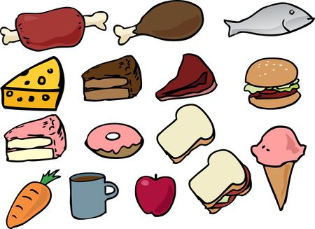 Assorted food icons lineart hand-drawn vector illustration illustration