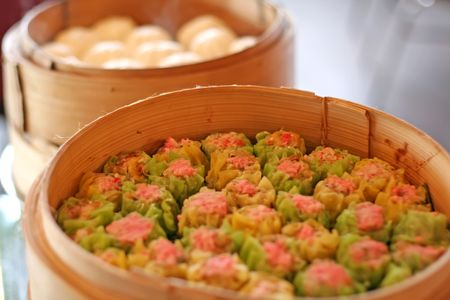 arranged: Steamed dumpling dim sum, Traditional chinese cuisine