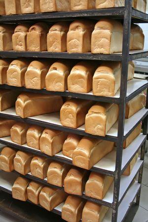 Hileras de barras de pan en una panader�a en bastidores Foto de archivo - 1842516