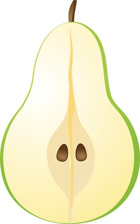 Vector isometric illustration of a pear half cut illustration