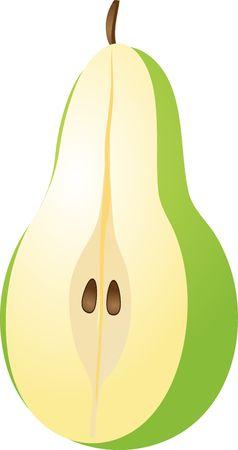 Vector isometric illustration of a pear half cut 3-quarter view illustration