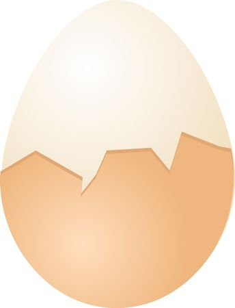 sunnyside: Hardboiled Egg cracked half shell isometric 3d vector illustration Stock Photo
