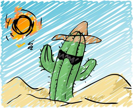 Illustration of a cool cactus, with a hat and sunglasses, in the scorching desert.  illustration