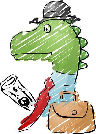 extinction: Illustration of a dinosaur businessman, with a briefcase and newspaper