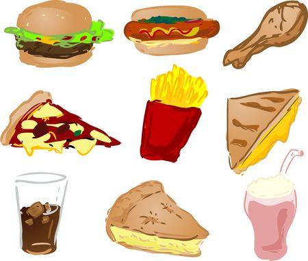 Fast food icons, hand-drawn look: hamburger, hotdog, fried chicken, pizza, fries, grilled cheese sandwich, fizzy drink, pie, shake photo
